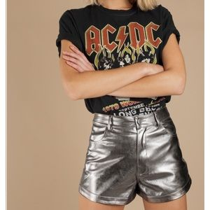 Pewter metallic faux leather shorts